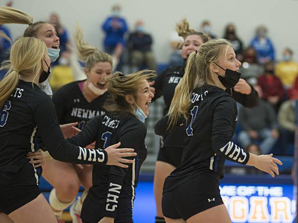 Newman battles back to down Forreston, advance to regional volleyball final