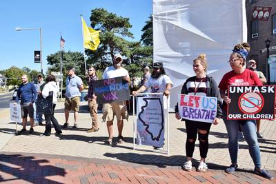 Group protests in DeKalb against mask and vaccine mandates