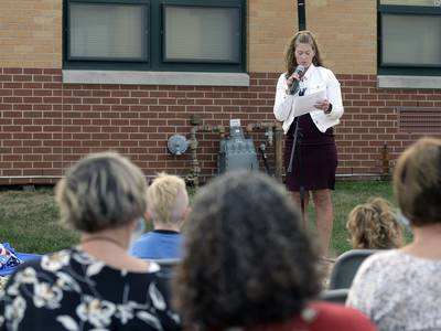 Trina Becker remembered as Harding Elementary dedicates new flagpole