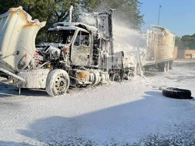 Delivery truck catches fire outside Rutland Grade School