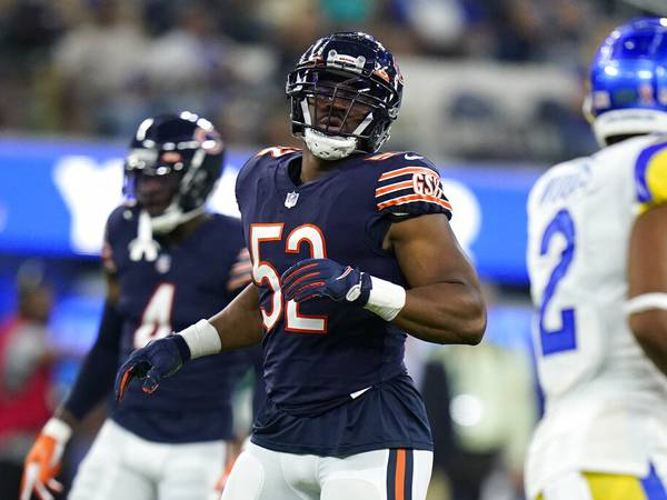 Hampered by a foot injury, Khalil Mack could miss time; Nagy says 'no decisions made' yet