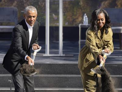 After 5 years, Obamas break ground on Presidential Center