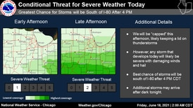 Severe storm outlook stronger for central Illinois than northern Illinois